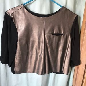 Structured faux leather crop top